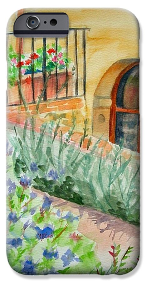 Flowers Surrounding Apartment On Vineyard IPhone 6 Case featuring the painting Dievole Vineyard by Judy Swerlick