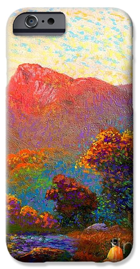 Meditation IPhone 6 Case featuring the painting Buddha Meditation, Divine Light by Jane Small