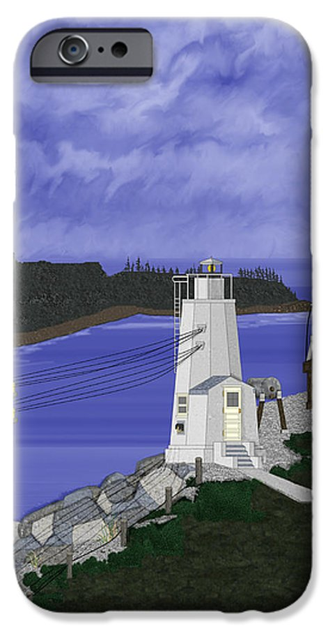 Lighthouse IPhone 6 Case featuring the painting Dofflemeyer Point Lighthouse At Boston Harbor by Anne Norskog