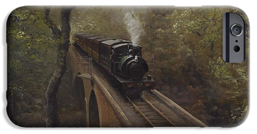 Steam IPhone 6 Case featuring the painting Dolgoch Viaduct by Richard Picton