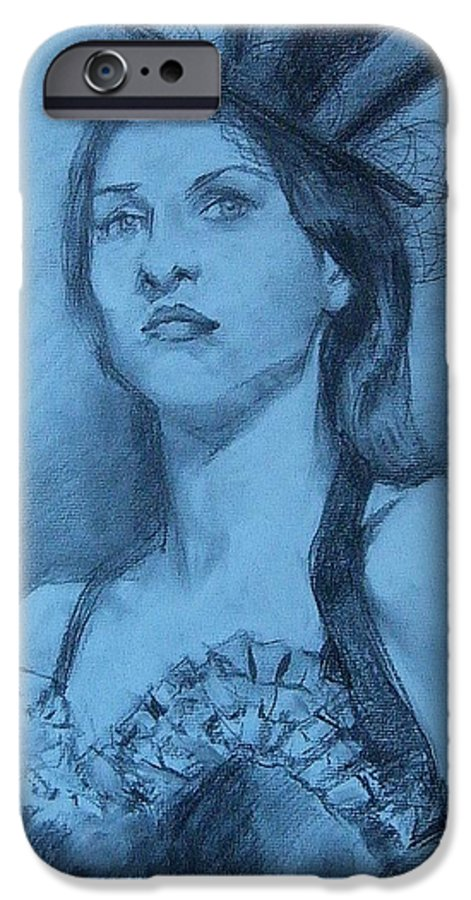Portrait IPhone 6 Case featuring the drawing Dolly In Costume by Debra Jones