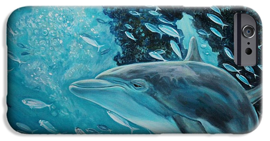 Underwater Scene IPhone 6 Case featuring the painting Dolphin With Small Fish by Diann Baggett