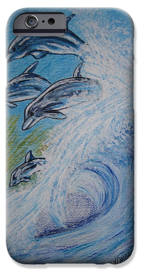 Dolphins IPhone 6 Case featuring the painting Dolphins Jumping In The Waves by Kathy Marrs Chandler