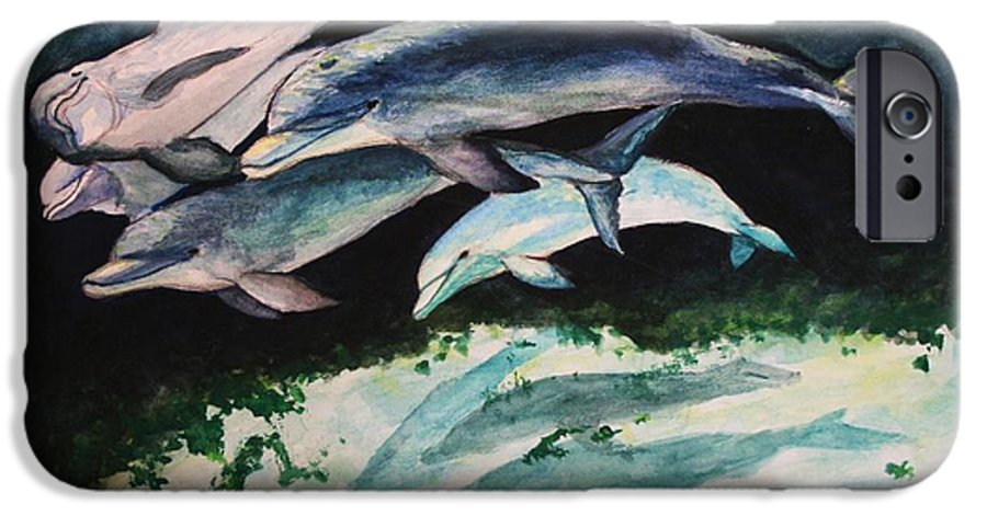 Dolphins IPhone 6 Case featuring the painting Dolphins by Laura Rispoli
