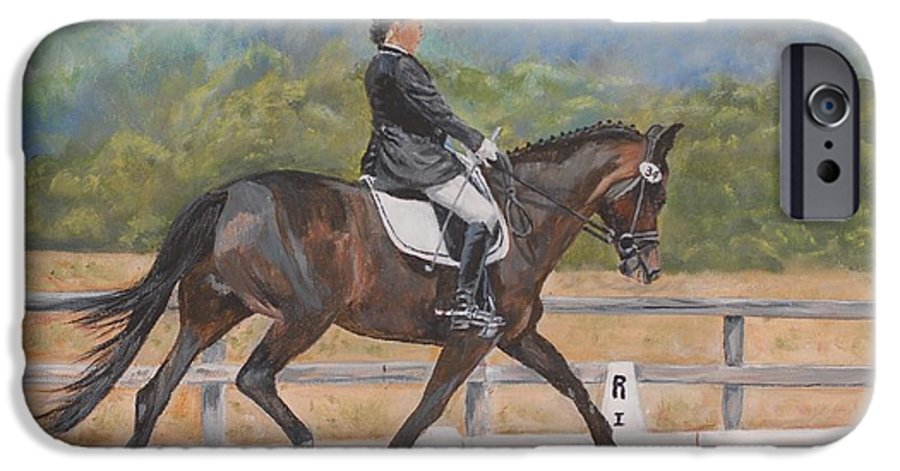 Horse IPhone 6 Case featuring the painting Donnerlittchen by Quwatha Valentine