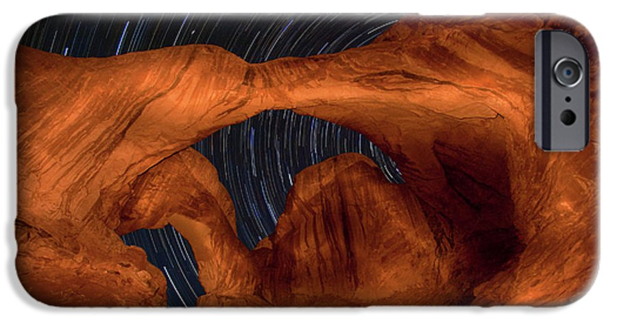 3scape IPhone 6 Case featuring the photograph Double Arch Star Trails by Adam Romanowicz