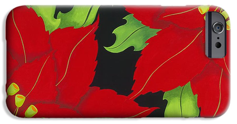 Acrylic IPhone 6 Case featuring the painting Double Red Poinsettias by Carol Sabo
