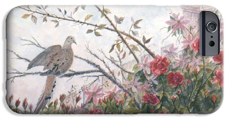 Dove; Roses IPhone 6 Case featuring the painting Dove And Roses by Ben Kiger