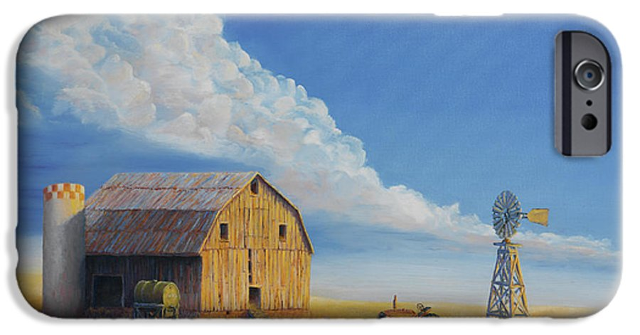 Barn IPhone 6 Case featuring the painting Downtown Wyoming by Jerry McElroy