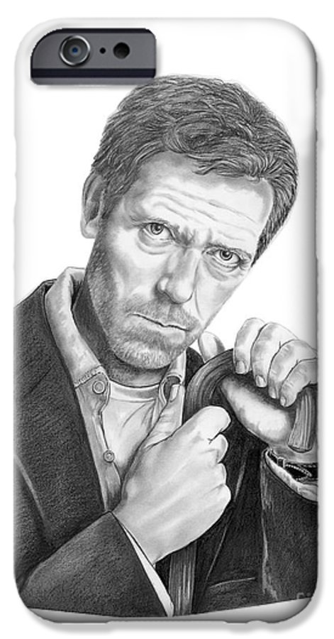 Drawing IPhone 6 Case featuring the drawing Dr. House Hugh Laurie by Murphy Elliott