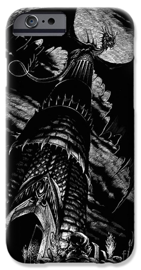 Dragon IPhone 6 Case featuring the drawing Dragon Tower by Stanley Morrison