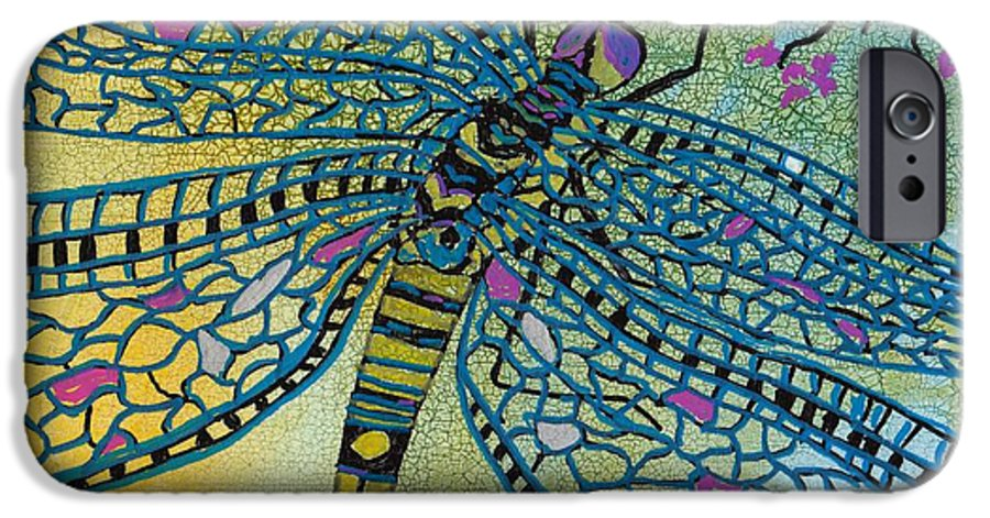 Dragonfly IPhone 6 Case featuring the mixed media Dragonfly And Cherry Blossoms by Susan Kubes