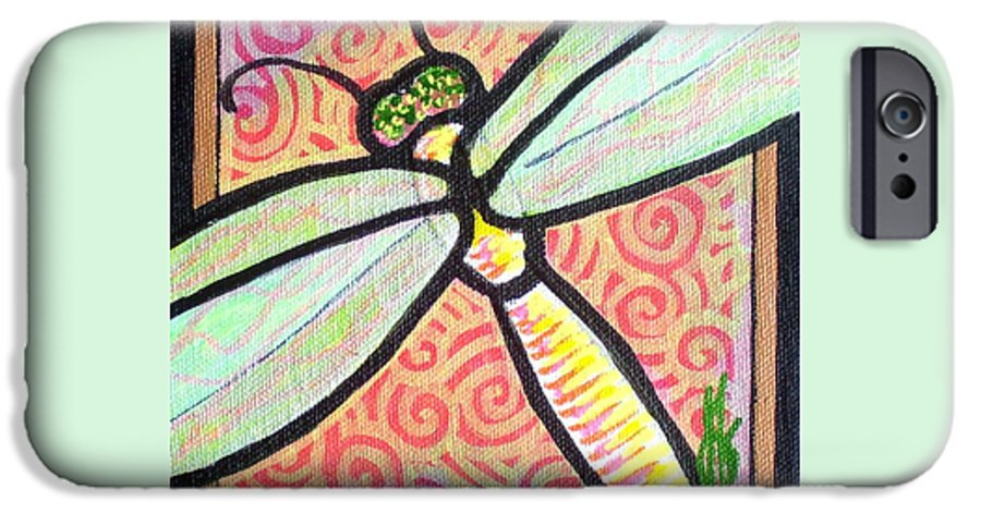 Dragonfly IPhone 6 Case featuring the painting Dragonfly Fantasy 3 by Jim Harris