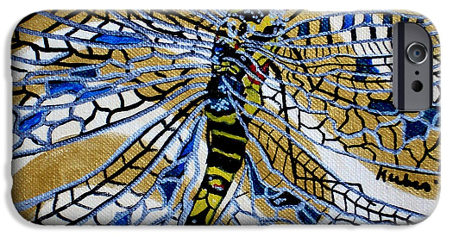 Dragonfly IPhone 6 Case featuring the painting Dragonfly On Gold Scarf by Susan Kubes