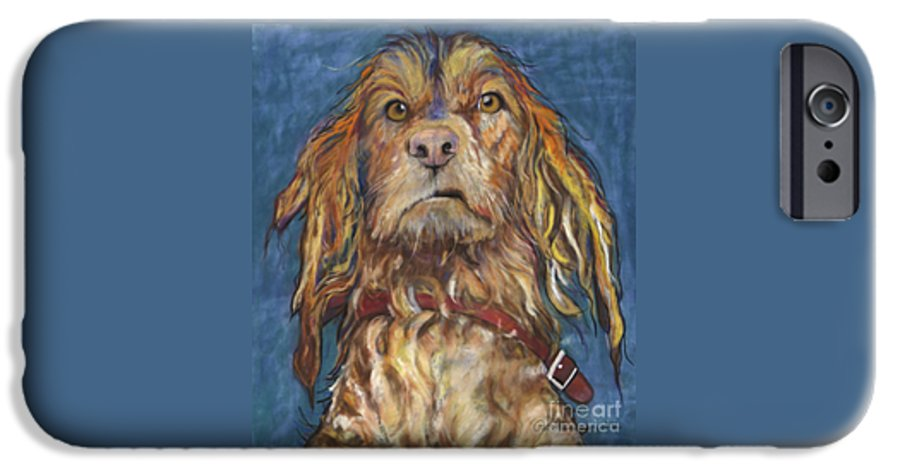 Golden Retriever Painting IPhone 6 Case featuring the pastel Drenched by Pat Saunders-White
