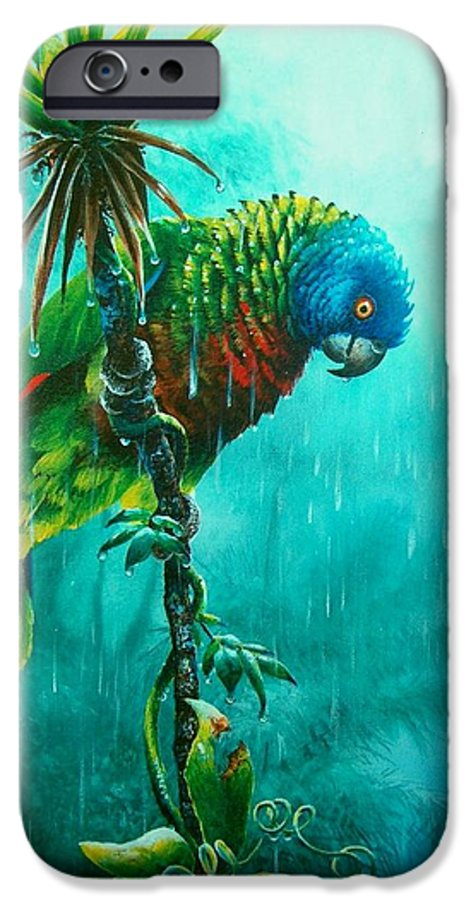 Chris Cox IPhone 6 Case featuring the painting Drenched - St. Lucia Parrot by Christopher Cox