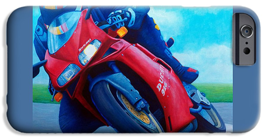 Motorcycle IPhone 6 Case featuring the painting Ducati 916 by Brian Commerford