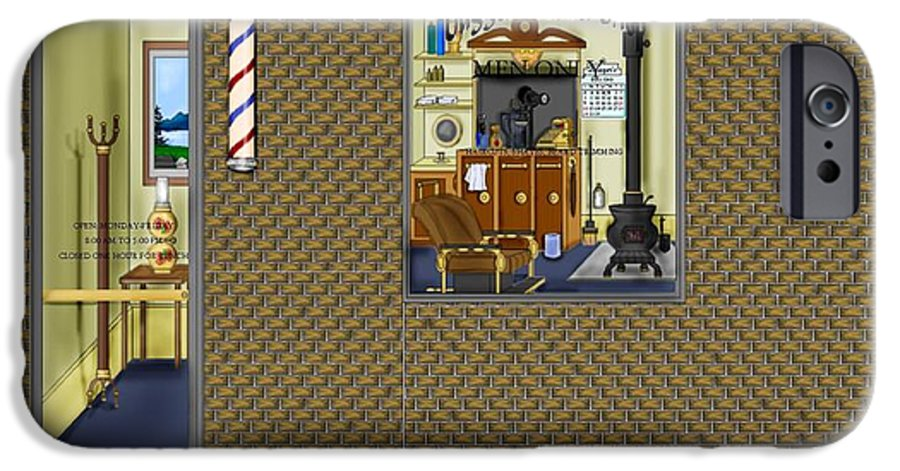 Townscape IPhone 6 Case featuring the painting Dugger's Barber Shop by Anne Norskog