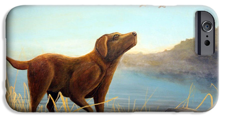 Chocolate Lab Painting IPhone 6 Case featuring the Dutch by Rick Huotari