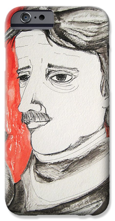 Edgar Poe Watercolor Portrait Cat Raven Nevermore Lenore Darkestartist Darkest Artist Black Red IPhone 6 Case featuring the painting E. A. Poe by Darkest Artist