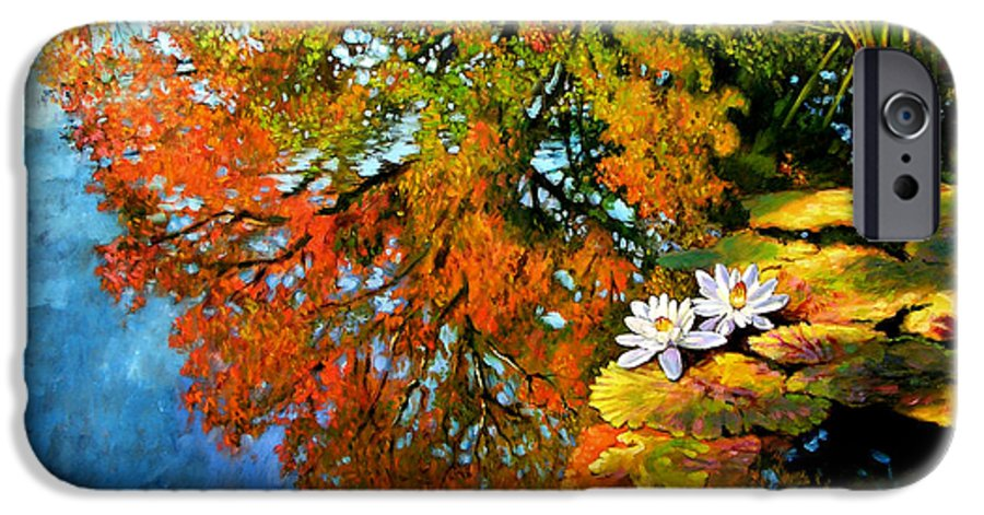 Landscape IPhone 6 Case featuring the painting Early Morning Fall Colors by John Lautermilch
