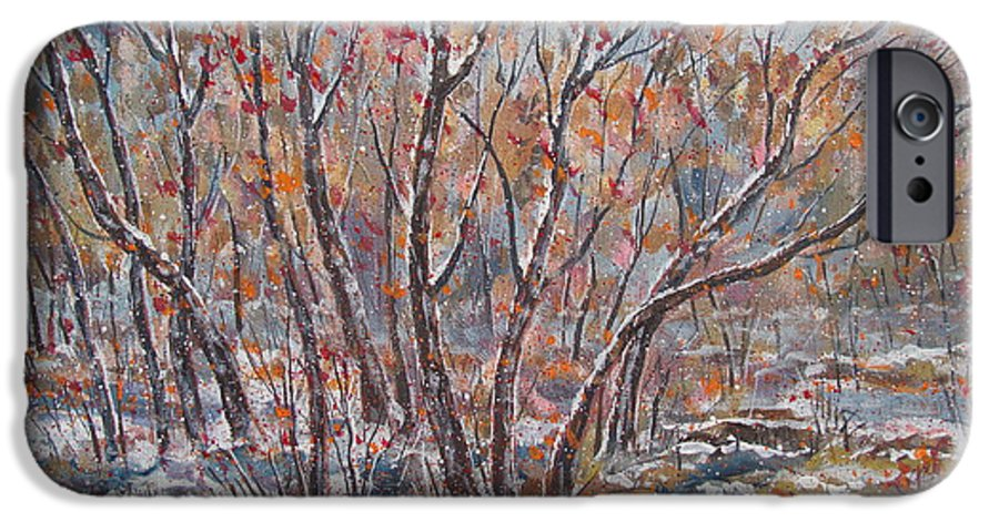 Landscape IPhone 6 Case featuring the painting Early Snow. by Leonard Holland