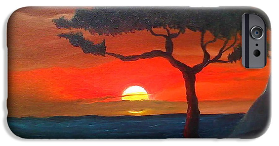Africa! IPhone 6 Case featuring the painting East African Sunset by Portland Art Creations