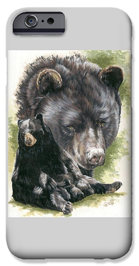 Black Bear IPhone 6 Case featuring the mixed media Ebony by Barbara Keith