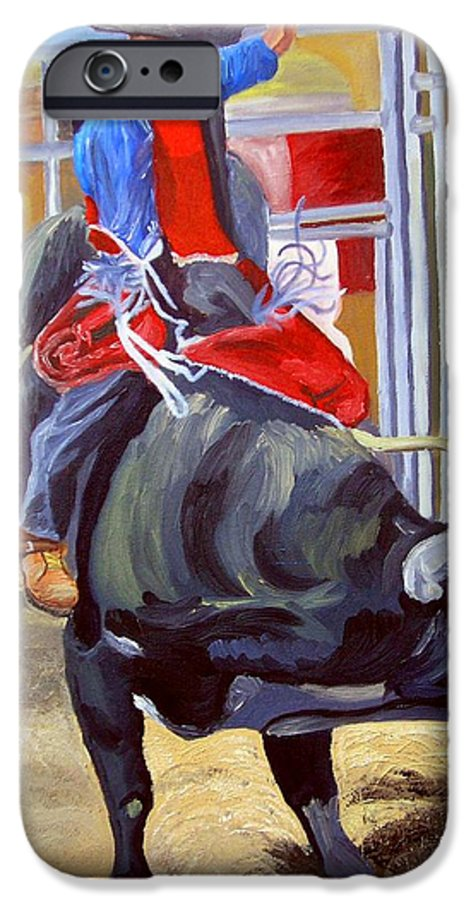 Bull Riding IPhone 6 Case featuring the painting Eight Long Seconds by Michael Lee
