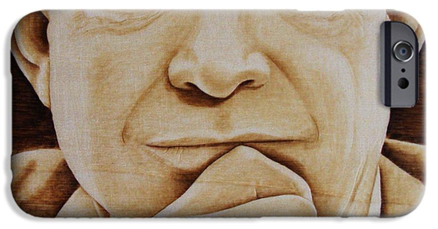 Pyrography; Portrait;; President; Sepia; Human; Eyes; Ears; Eisenhower; Woodburning; Jo Schwartz IPhone 6 Case featuring the pyrography Eisenhower - The Man by Jo Schwartz
