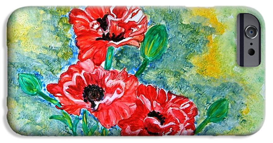 Poppies Flowers Red Yellow Green Blue Acrylic Watercolor Yupo Elegant Landscape IPhone 6 Case featuring the painting Elegant Poppies by Manjiri Kanvinde