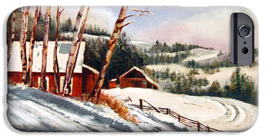 Snow IPhone 6 Case featuring the painting Elephant Mountain Ranch by Susan Moore