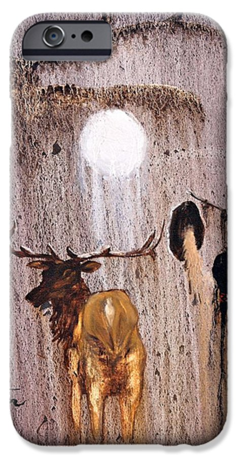Native Art IPhone 6 Case featuring the painting Elk Spirit by Patrick Trotter