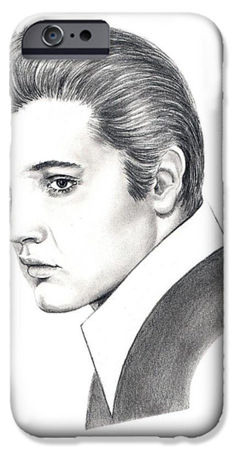 Pencil. Portrait IPhone 6 Case featuring the drawing Elvis Presley by Murphy Elliott