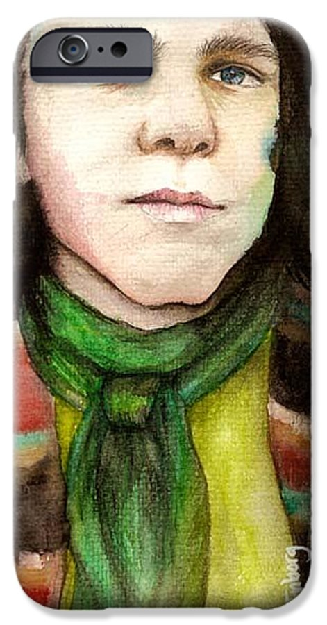 Boy IPhone 6 Case featuring the drawing Emil by Freja Friborg