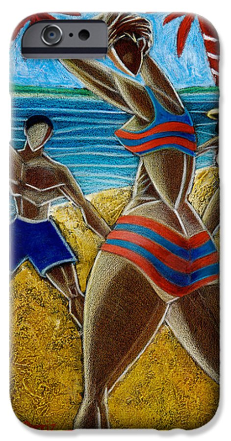 Beach IPhone 6 Case featuring the painting En Luquillo Se Goza by Oscar Ortiz