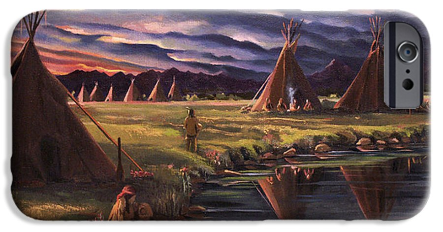 Native American IPhone 6 Case featuring the painting Encampment At Dusk by Nancy Griswold
