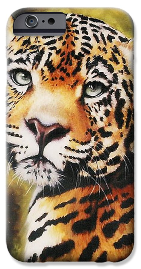 Jaguar IPhone 6 Case featuring the pastel Enchantress by Barbara Keith