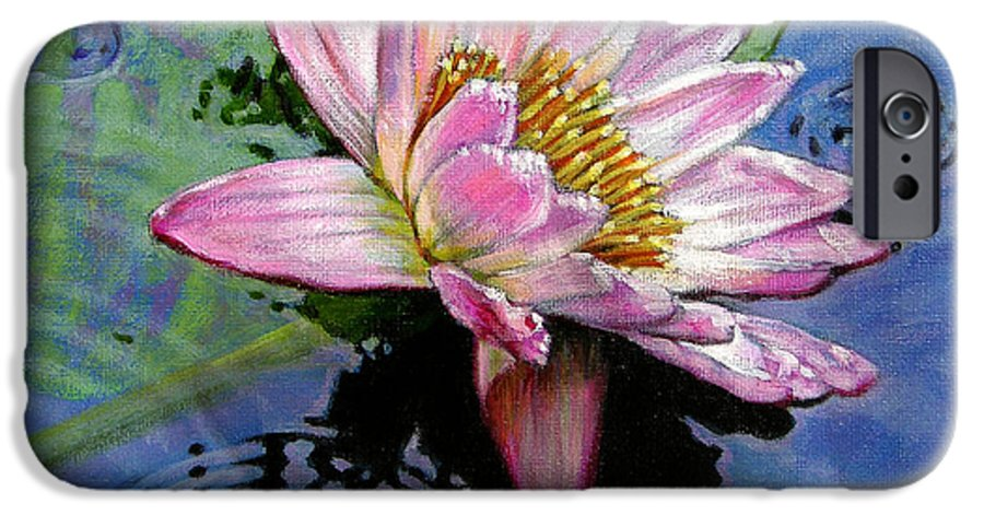 Water Lily IPhone 6 Case featuring the painting End Of Summer Shower by John Lautermilch