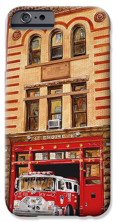 Firehouse IPhone 6 Case featuring the painting Engine Company 47 by Paul Walsh