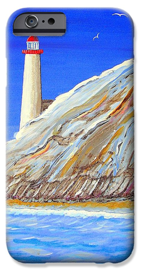 Lighthouse IPhone 6 Case featuring the painting Entering The Harbor by J R Seymour