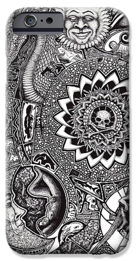 Black And White IPhone 6 Case featuring the drawing Epiphany by Tobey Anderson