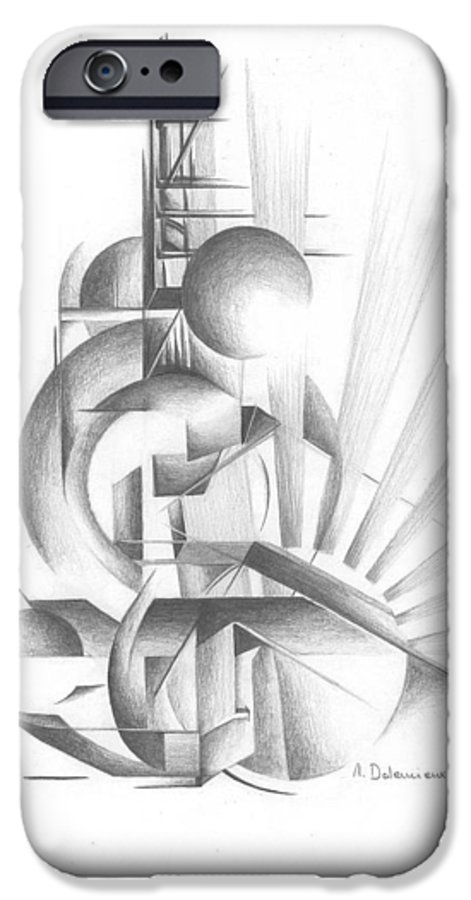 Abstract IPhone 6 Case featuring the drawing Equilibre by Muriel Dolemieux