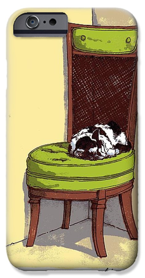 Cat IPhone 6 Case featuring the drawing Ernie And Green Chair by Tobey Anderson