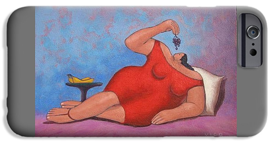 Acrylic IPhone 6 Case featuring the painting Erotic Grapes by Vico Vico