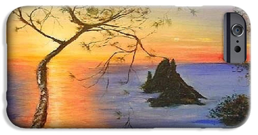 Sunset IPhone 6 Case featuring the painting Es Vedra Island Off Ibiza South Coast by Lizzy Forrester