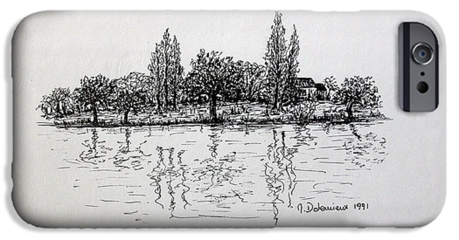 Landscape IPhone 6 Case featuring the drawing Etang by Muriel Dolemieux