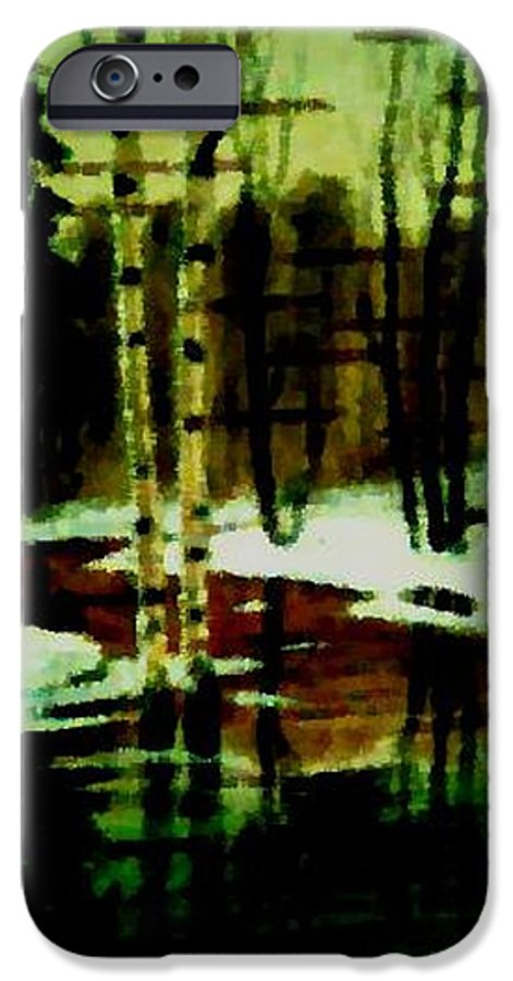 Sprig.forest.snow.water.trees.birches. Puddles.sky.reflection. IPhone 6 Case featuring the digital art European Spring by Dr Loifer Vladimir