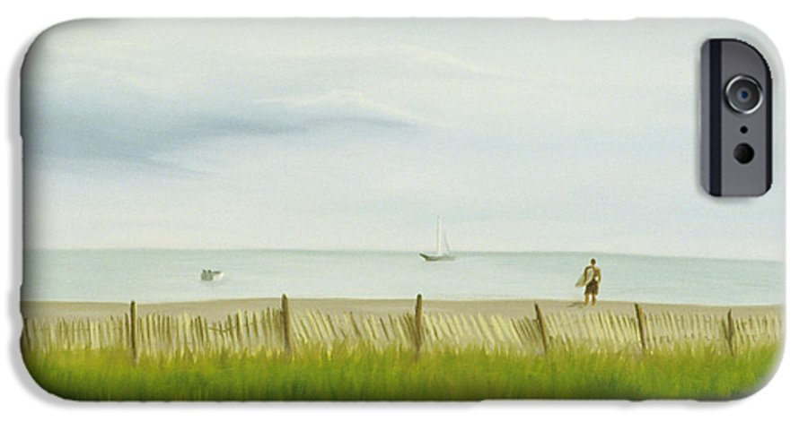 Seascape IPhone 6 Case featuring the painting Evening At Cape May by Lea Novak