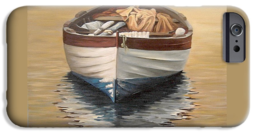 Boats Reflection Seascape Water IPhone 6 Case featuring the painting Evening Boat by Natalia Tejera
